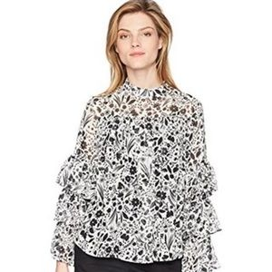 Nanette Lepore Multi Print Tiered Sleeve Top